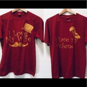 2 T-shirts Bundle, I ❤️my husband, I ❤️ my wife😍
